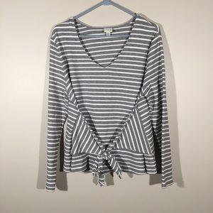 Black and white stripe long sleeve blouse